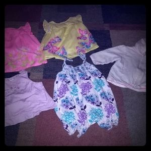 4 shirts a romper and hoodie